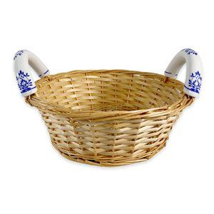Vintage Round Woven Basket with Ceramic Handles